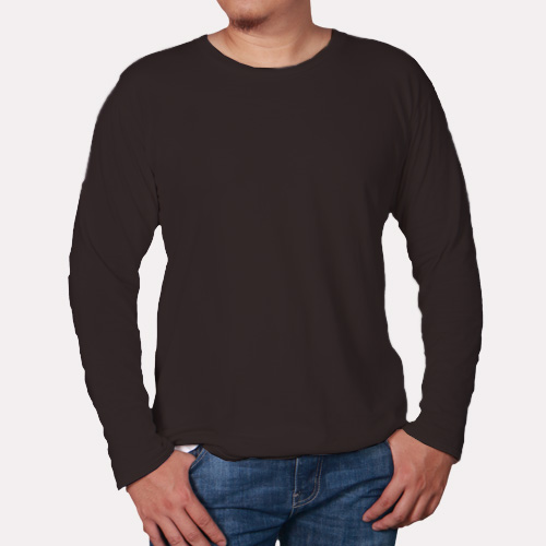 Men Round Neck Full Sleeves Dark Grey image