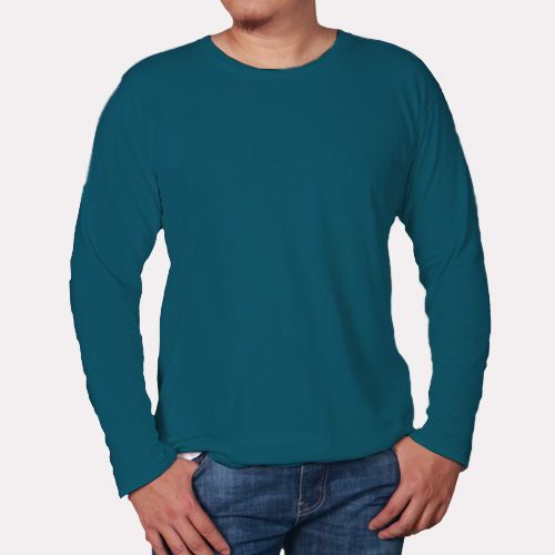 Men Round Neck Full Sleeves Dark Sky Blue image