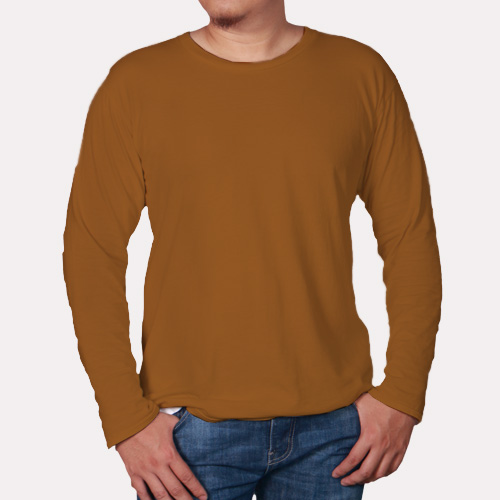 Men Round Neck Full Sleeves Dark Yellow image