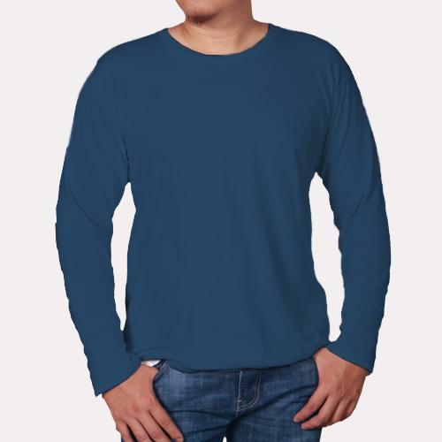 Men Round Neck Full Sleeves Deep Sky Blue image