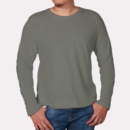 Men Round Neck Full Sleeves Dove Grey image