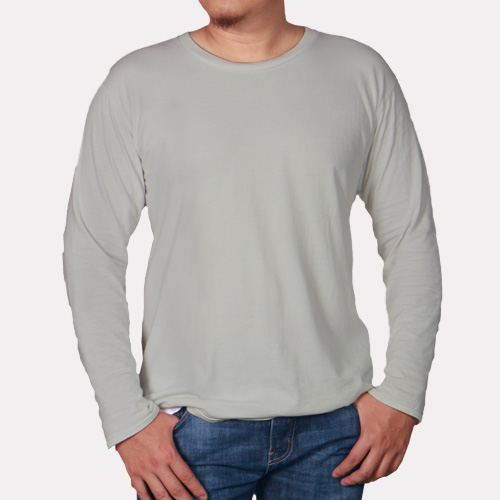 Men Round Neck Full Sleeves Light Grey image