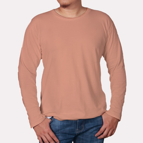Men Round Neck Full SleevesLight Saffron image