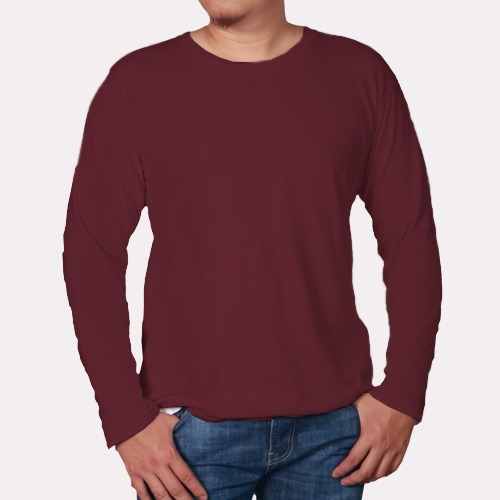 Men Round Neck Full SleevesDark Maroon Color image