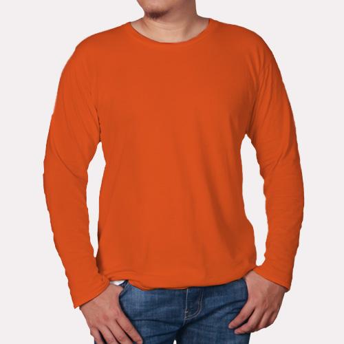 Men Round Neck Full Sleeves Orange image