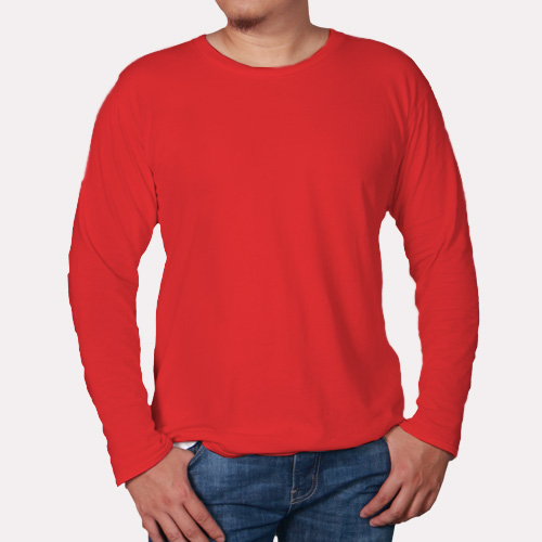 Men Round Neck Full Sleeves Red image
