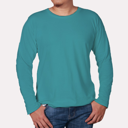 Men Round Neck Full Sleeves Sky Blue image