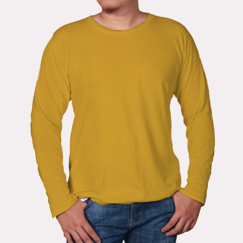 Men Round Neck Full Sleeves Yellow image