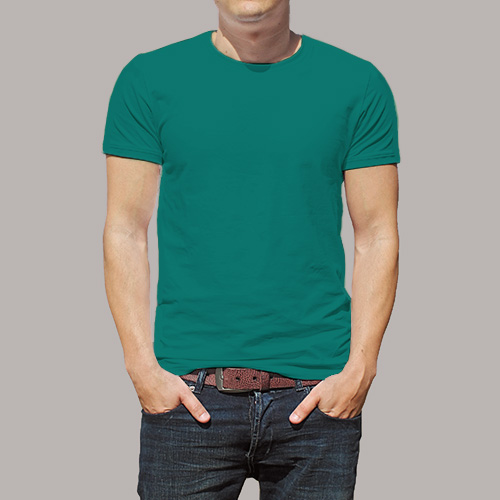 Men Round Neck Half Sleeves Aquamarine image