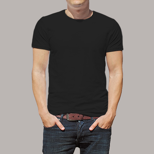 Men Round Neck Half Sleeves Black image