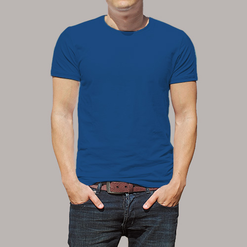Men Round Neck Half Sleeves Blue image
