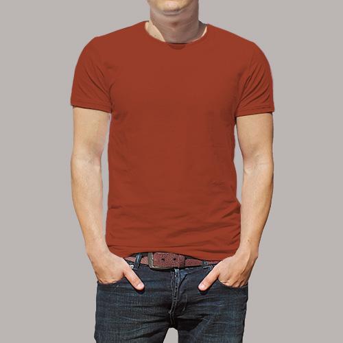 Men Round Neck Half Sleeves Brown image