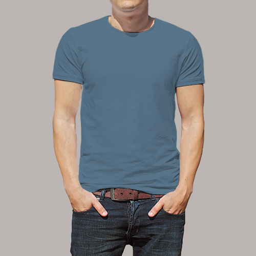 Men Round Neck Half Sleeves Chathams Blue image