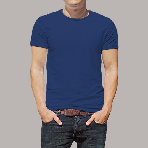 Men Round Neck Half Sleeves Dark Blue image