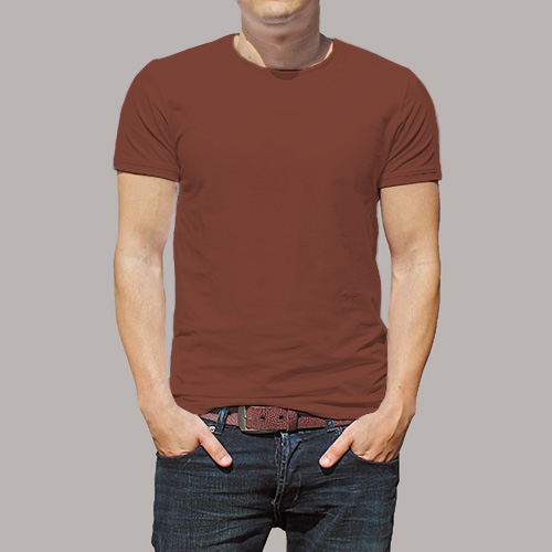 Men Round Neck Half Sleeves Dark Brown image