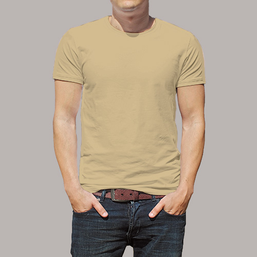 Men Round Neck Half Sleeves Dark Cream image