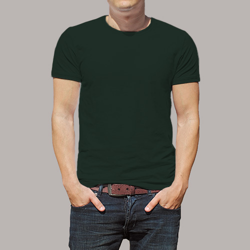 Men Round Neck Half Sleeves Dark Green image