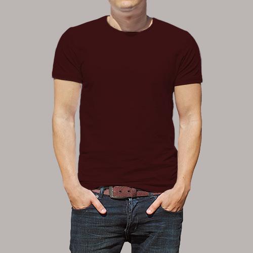 Men Round Neck Half SleevesDark Maroon Color image