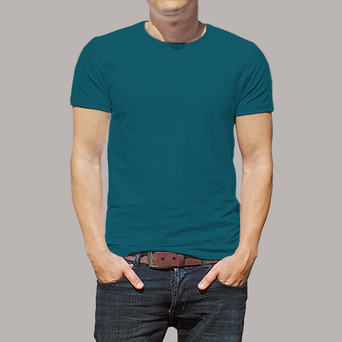 Men Round Neck Half Sleeves Dark Sky Blue image