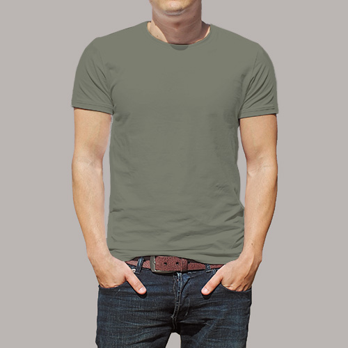 Men Round Neck Half Sleeves Dove Grey image