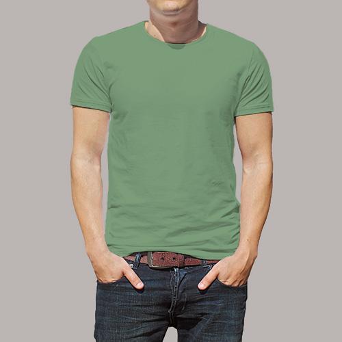 Men Round Neck Half Sleeves Green Apple image