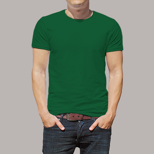 Men Round Neck Half Sleeves  Green image