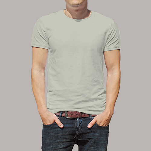 Men Round Neck Half Sleeves Light Grey image