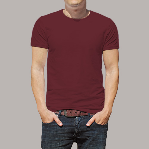Men Round Neck Half Sleeves Maroon image
