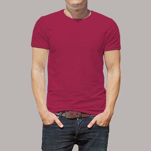 Men Round Neck Half Sleeves Pink image