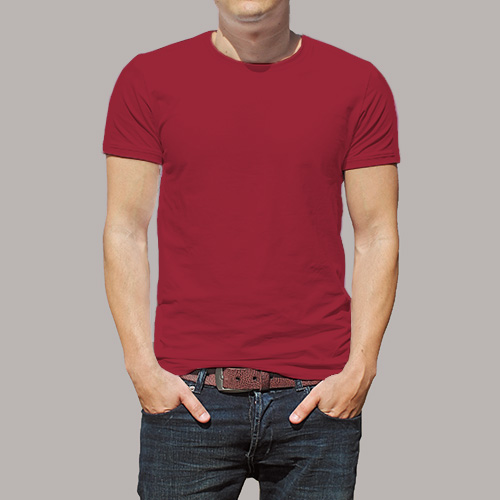 Men Round Neck Half Sleeves Radical Red image