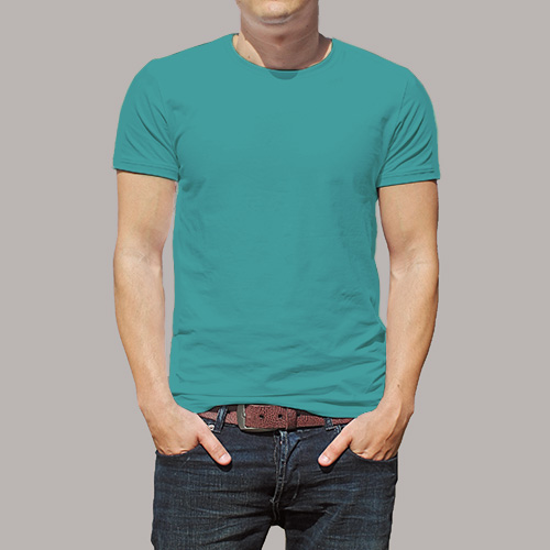 Men Round Neck Half Sleeves Sky Blue image