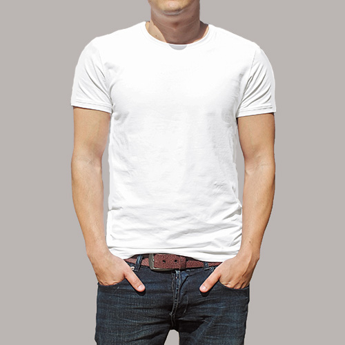 Men Round Neck Half Sleeves White image