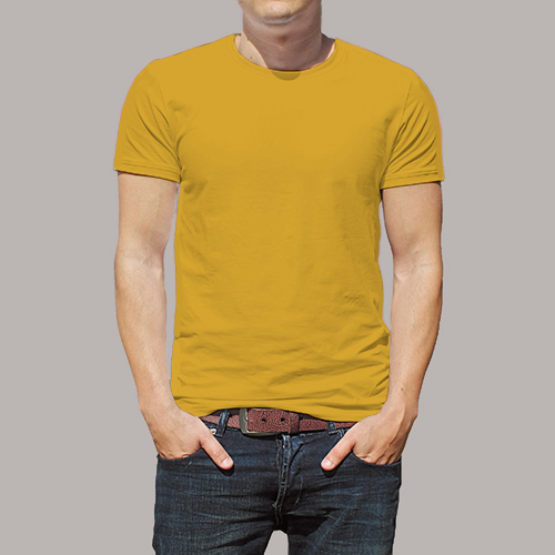 Men Round Neck Half Sleeves Yellow image