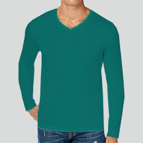Men V Neck Full Sleeves Aquamarine image