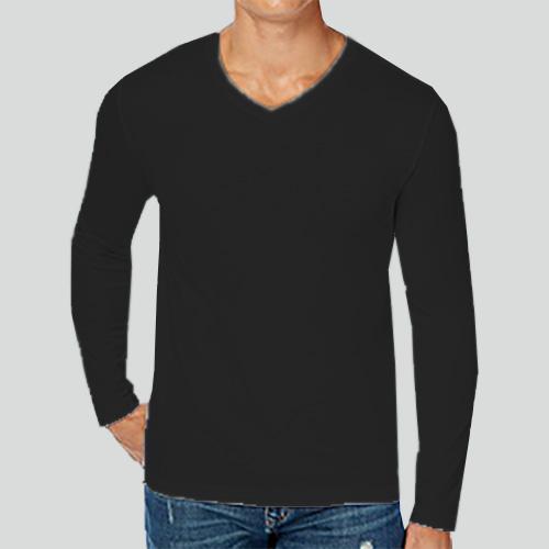 Men V Neck Full Sleeves Black image
