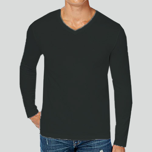 Men V Neck Full Sleeves Blackcurrent image