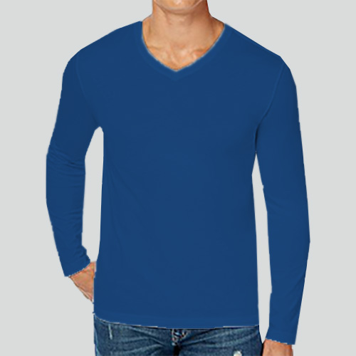Men V Neck Full Sleeves Blue image