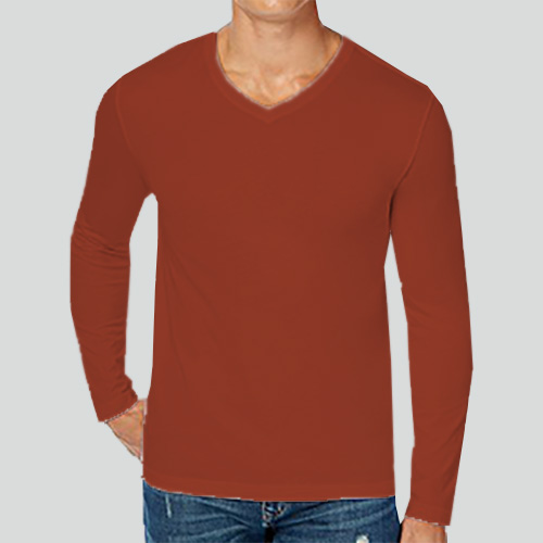 Men V Neck Full Sleeves Brown image