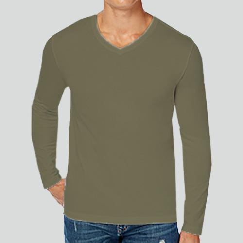 Men V Neck Full Sleeves Cement image