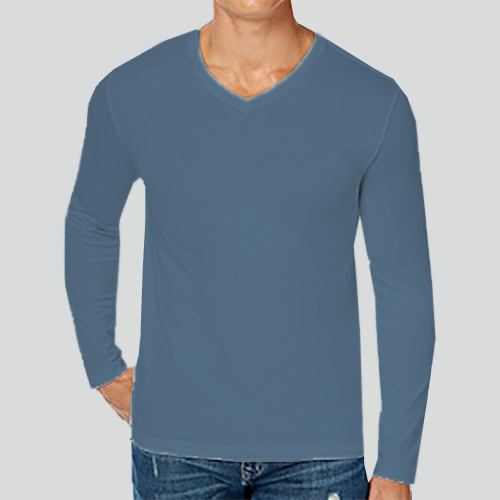 Men V Neck Full Sleeves Chathams Blue image