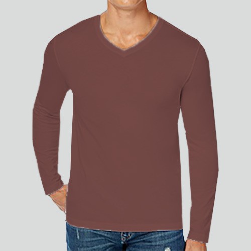 Men V Neck Full Sleeves Coffee image