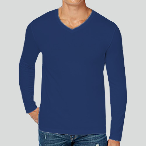 Men V Neck Full Sleeves Dark Blue image