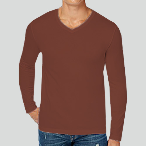 Men V Neck Full Sleeves Dark Brown image