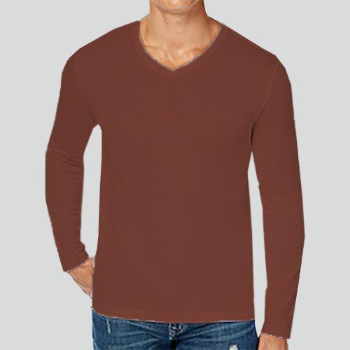 Men V Neck Full Sleeves Dark Brown image