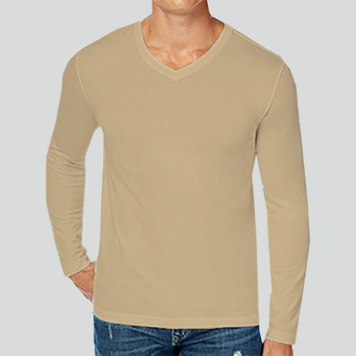 Men V Neck Full Sleeves Dark Cream image