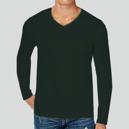 Men V Neck Full Sleeves Dark Green image