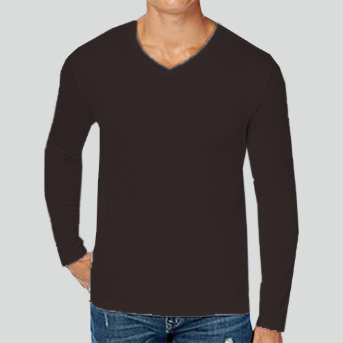 Men V Neck Full Sleeves Dark Grey image