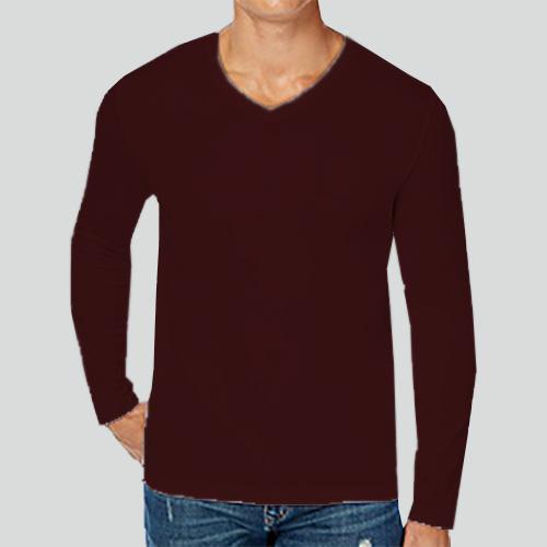 Men V Neck Full SleevesDark Maroon Color image