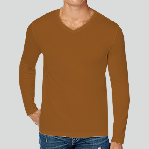 Men V Neck Full Sleeves Dark Yellow image