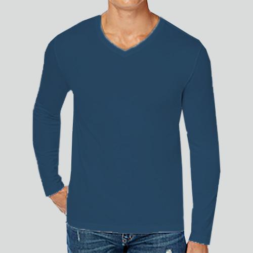Men V Neck Full Sleeves Deep Sky Blue image
